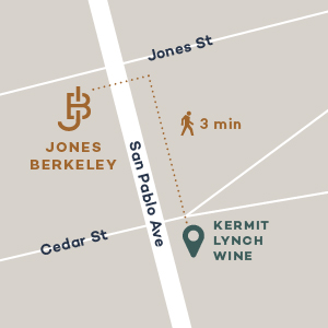 Map from Jones Berkeley to Kermit Lynch Wine Merchant