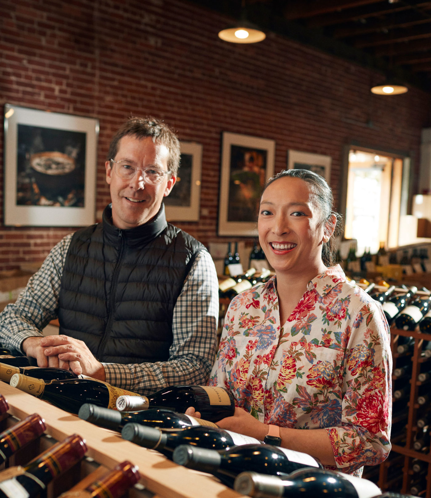 Staff at Kermit Lynch Wine Merchant inside the retail store
